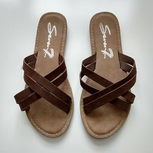 Seven7 Brand brown criss cross sandals size 9